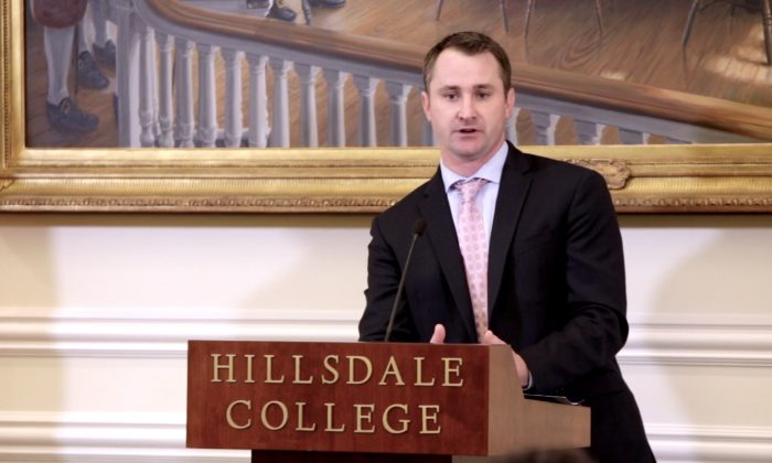 James Hasson delivers a lecture at Hillsdale College's Kirby Center on Capitol Hill in Washington on Sept. 10, 2019. (Screenshot/Hillsdale College)