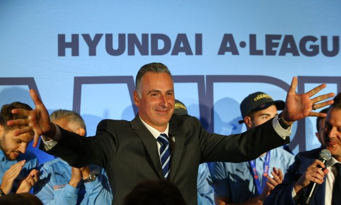 John Sidoti, NSW Sports Minister, is seen on stage during the Sydney FC A-League Grand Final celebrations at The Star in Sydney, Australia, on May 20, 2019. (Jason McCawley/Getty Images)