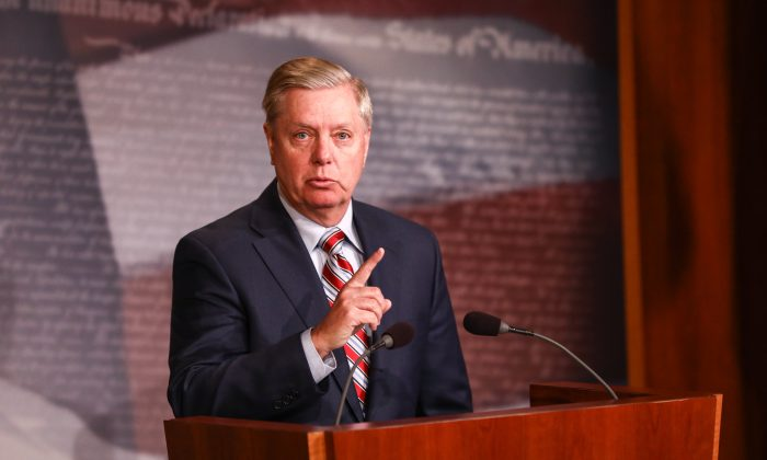 Sen. Lindsey Graham (R-S.C.) speaks to media about the Mueller report at the Capitol in Washington on March 25, 2019. (Charlotte Cuthbertson/The Epoch Times)