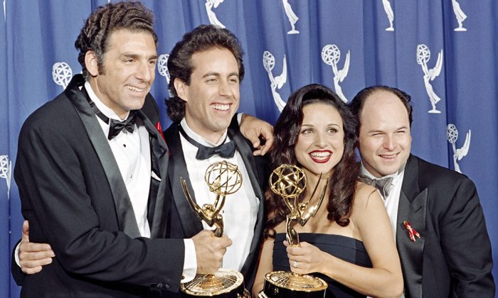 "The cast of the Emmy-winning sitcom""Seinfeld"": (L-R) Michael Richards, Jerry Seinfeld, Julia Louis-Dreyfus, and Jason Alexander in Pasadena, Calif., on Sept. 19, 1993. (Scott Flynn/AFP/Getty Images)"