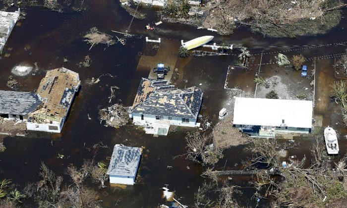 An aerial view of damaged houses on Sept. 5, 2019 in Great Abaco Island, Bahamas. Hurricane Dorian hit the island chain as a category 5 storm battering them for two days before moving north. (Jose Jimenez/Getty Images)