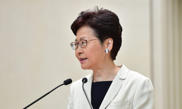 Hong Kong leader Carrie Lam speaks during a press conference in Hong Kong on Sept. 17, 2019. (Bill Cox/The Epoch Times)