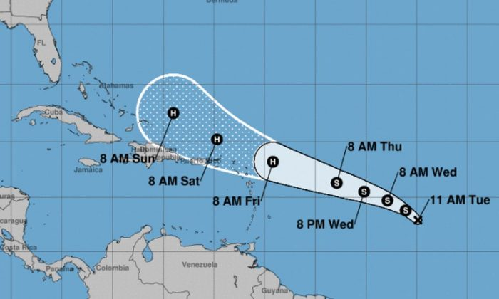 The NHC's cone of uncertainty shows a potential track anywhere north of the island of Hispaniola to east of the Bahamas. It's not clear if the storm will make a significant impact on the United States. (NHC)