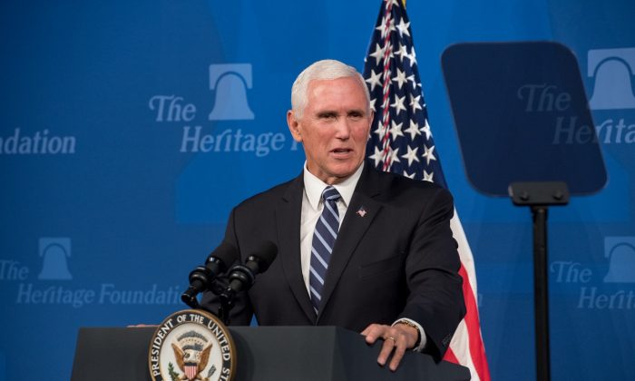 Vice President Mike Pence speaks at the Heritage Foundation to promote the United States-Mexico-Canada Trade Agreement (USMCA) in Washington on Sept. 17. (Erin Granzow/The Heritage Foundation)