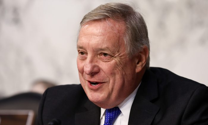 Sen. Dick Durbin (D-Ill.) speaks during Judge Brett Kavanaugh's confirmation hearing before the Senate Judiciary Committee to serve as associate justice for the Supreme Court at the Capitol in Washington on Sept. 4, 2018. (Samira Bouaou/The Epoch Times)