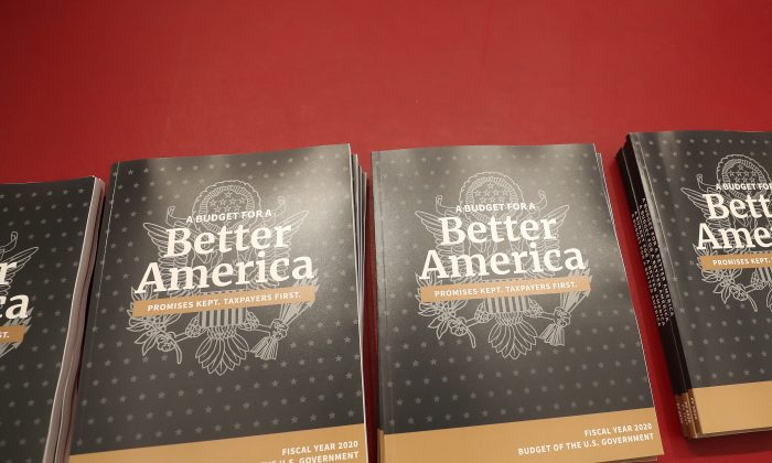 Copies of volume one of President Donald Trump's new budget for Fiscal Year 2020 on March 11, 2019 in Washington. (Mark Wilson/Getty Images)