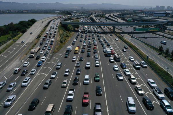 Traffic backs up at the San Francisco-Oakland Bay Bridge toll plaza