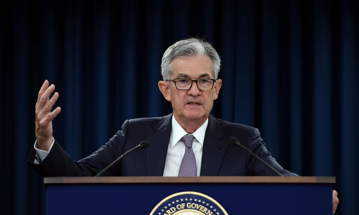 Federal Reserve Board Chairman Jerome Powell speaks at a news conference after a Federal Open Market Committee meeting on Sept. 18, 2019.(OLIVIER DOULIERY/AFP/Getty Images)