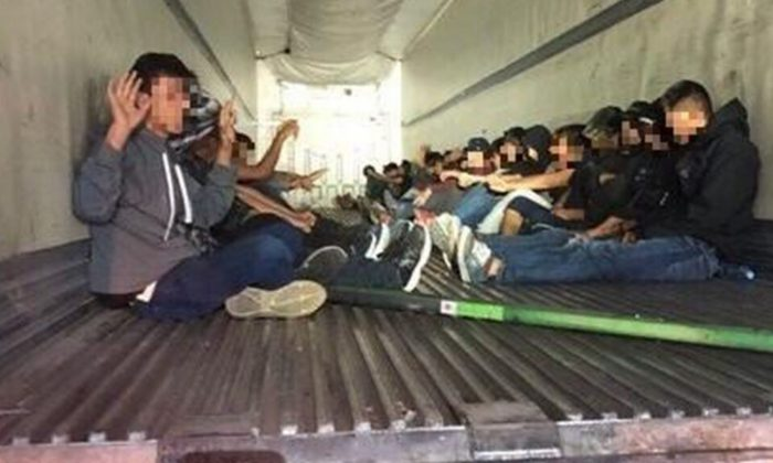 Agents assigned to the I-19 immigration checkpoint near Amado, Arizona, discovered 31 illegal immigrants from Mexico inside the back of a tractor-trailer.(U.S. Customs and Border Protection)