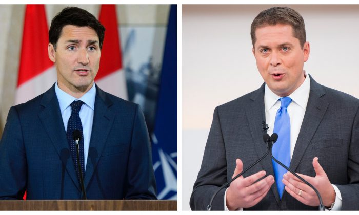 Prime Minister Justin Trudeau (L) at Canadian Forces Base Petawawa, Ontario, on July 15, 2019. (The Canadian Press/Sean Kilpatrick) and Conservative Leader Andrew Scheer speaks during the Maclean's/Citytv National Leaders Debate in Toronto on Sept. 12, 2019. (The Canadian Press/Frank Gunn)