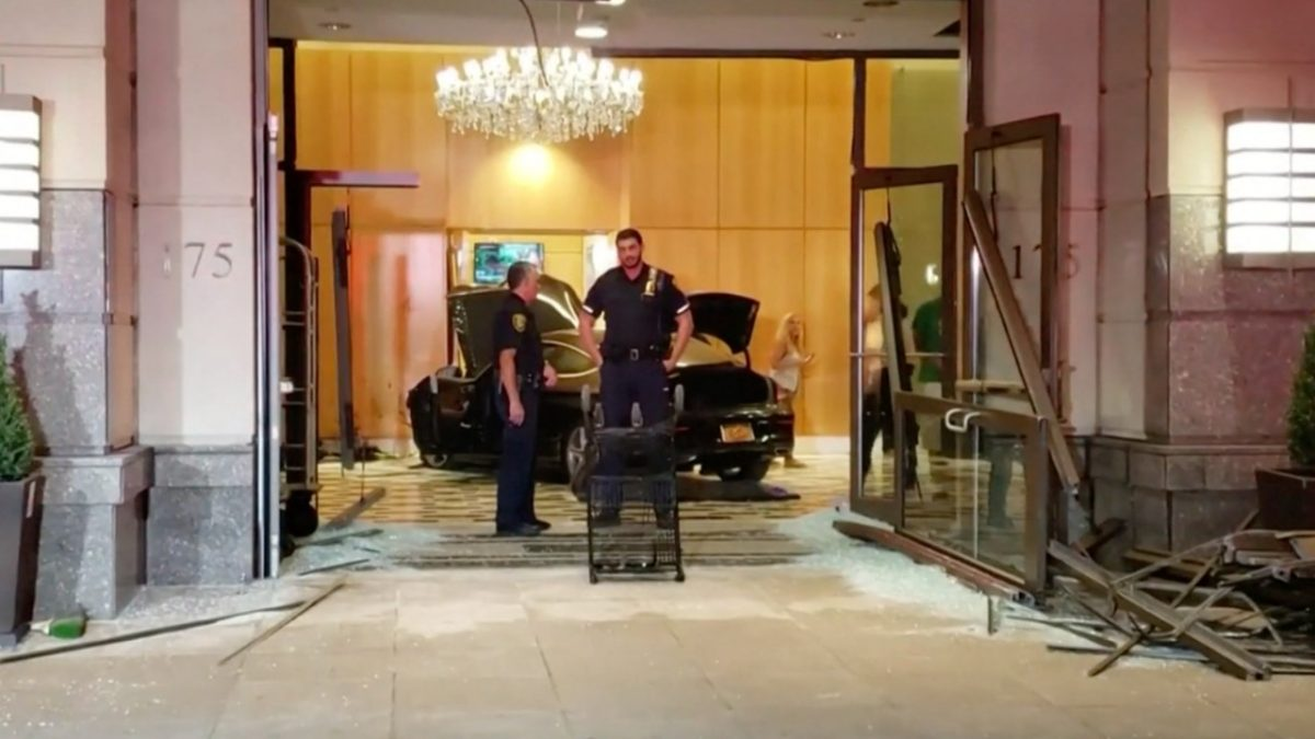 Auto crashes into Trump Plaza in New Rochelle; foul play not suspected