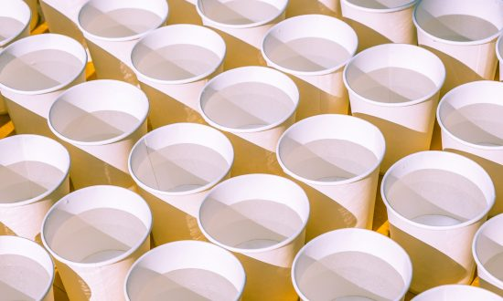 Artist Lines 66,000 Water Cups and Starts Filling Up, the Result Is One Powerful Message