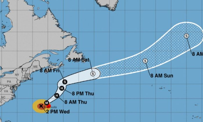 Hurricane Humberto is now a Category 3 storm with 120 mph winds as it approaches the island of Bermuda in the Atlantic Ocean. (NHC)