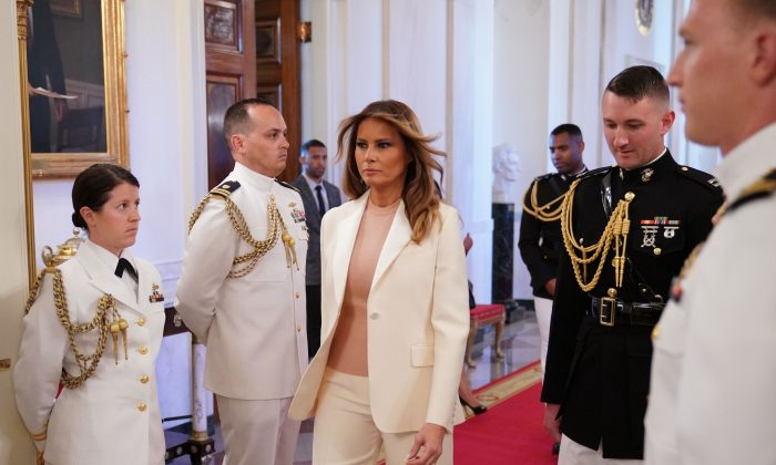 First Lady Melania Trump arrives before President Donald Trump presents the Medal of Freedom to former New York Yankees pitcher Mariano Rivera in the East Room of the White House in Washington on Sept. 16, 2019. (Photo by MANDEL NGAN / AFP)