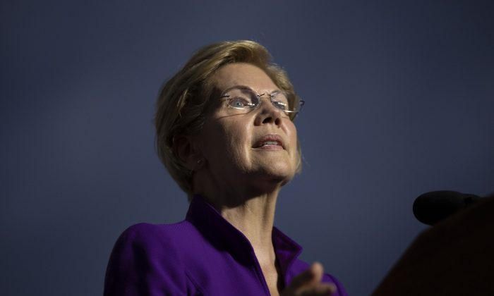 Democratic presidential candidate Sen. Elizabeth Warren (D-Mass.) speaks during a rally in New York City on Sept. 16, 2019. (Drew Angerer/Getty Images)