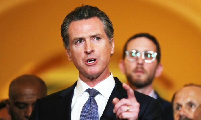 California Gov. Gavin Newsom speaks during a news conference at the California State Capitol in Sacramento, Calif. on March 13, 2019. (Justin Sullivan/Getty Images)