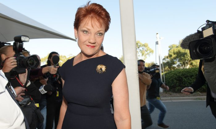 Senator Pauline Hanson arrives at Parliament House in Canberra, Australia, on Feb. 14, 2019. (Tracey Nearmy/Getty Images)