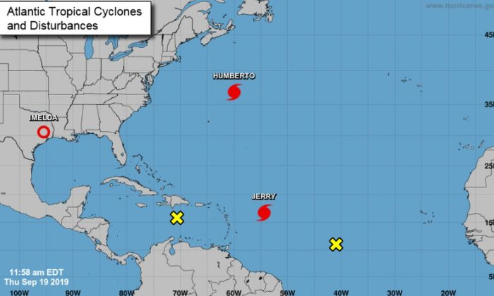 As of Sept. 19, six named storms are churning in the Atlantic and Eastern Pacific regions, including three hurricanes. (NHC)