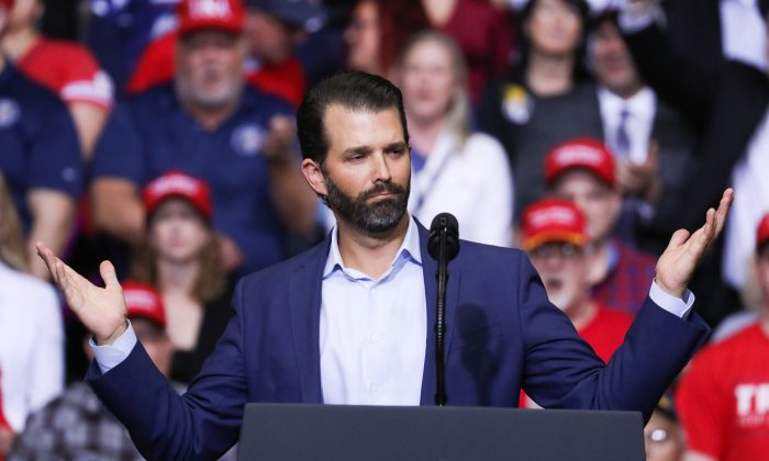 Donald Trump Jr., at President Donald Trump's MAGA rally in Grand Rapids, Mich., on March 28, 2019. (Charlotte Cuthbertson/The Epoch Times)