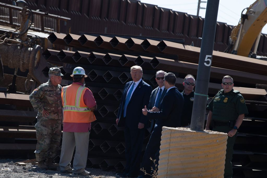 President Donald Trump visits the U.S.–Mexico border fence in Otay Mesa Calif. on Sept. 18 2019