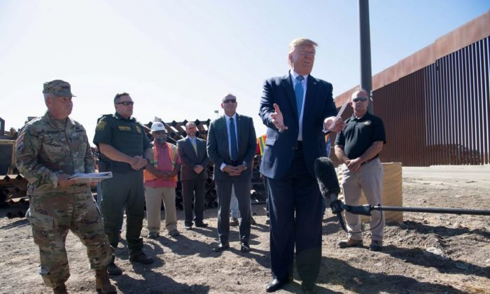 President Donald Trump speaks during a visit to the US-Mexico border fence in Otay Mesa, Calif. on Sept. 18, 2019. (Nicholas Kamm/AFP)