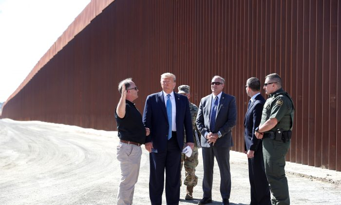President Donald Trump visits a section of the U.S.-Mexico border wall in Otay Mesa, Calif., on Sept. 18, 2019. (Tom Brenner/Reuters)