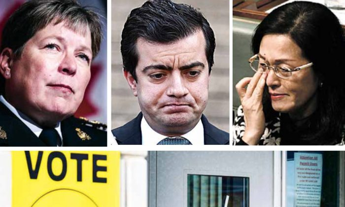 (Clockwise from top L) RCMP Commissioner Brenda Lucki speaks on the Cameron Ortis investigation in Ottawa on Sept. 17, 2019. Australian Labor Party Senator Sam Dastyari in Sydney on Sept. 6, 2016. Australian Liberal MP Gladys Liu becomes emotional at Parliament House in Canberra on Sept. 12, 2019. A federal election polling station in Vaughan, Ont., on Oct. 19, 2015. (William West, Tracey Nearmy/AFP/Getty Images; Chris Wattie, Peter Power/The Canadian Press)