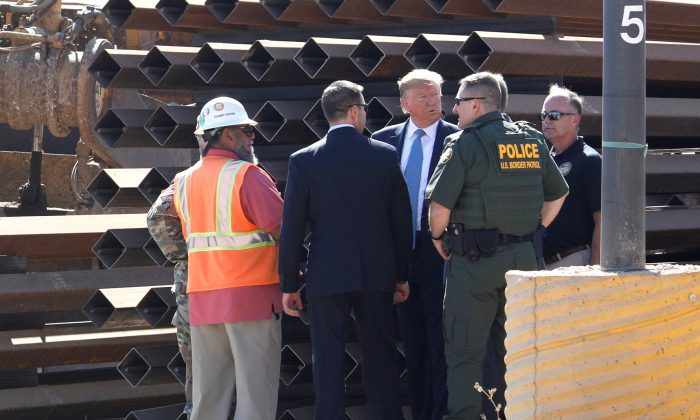 President Donald Trump visits a section of the United States-Mexico border wall in Otay Mesa, Calif., on Sept. 18, 2019. (Tom Brenner/Reuters)