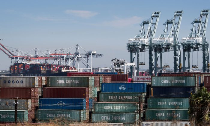Shipping containers from China and other Asian countries are unloaded at the Port of Los Angeles in Long Beach, California on Sept. 14, 2019. (Mark Ralston/AFP/Getty Images)