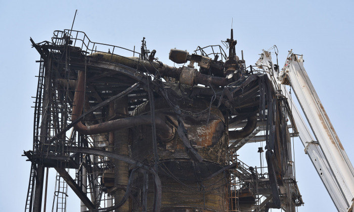 A destroyed installation in Saudi Arabia's Khurais oil processing plant is pictured on Sept. 20, 2019. (Fayez Nureldine/AFP/Getty Images)