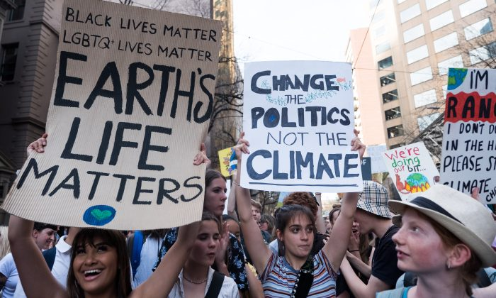 Children holding placards as they march in the 'Global Strike 4 Climate' action day in Melbourne, Australia, on Sept. 20, 2019. (Asanka Ratnayake/Getty Images)