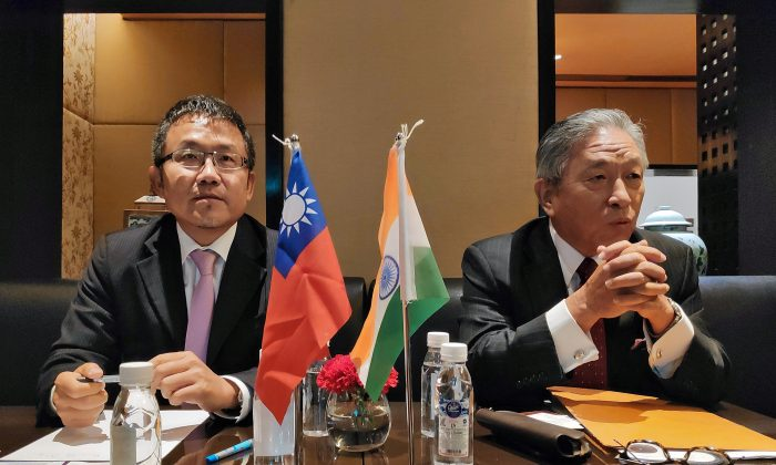 Shih-Chung Liu, vice chairman of Taiwan External Trade Development Council, and Chung-Kwang Tien, the representative of the Taipei Economic and Cultural Center in India, attend a news conference in New Delhi, India on Sept. 20, 2019. (Sankalp Phartiyal/Reuters)