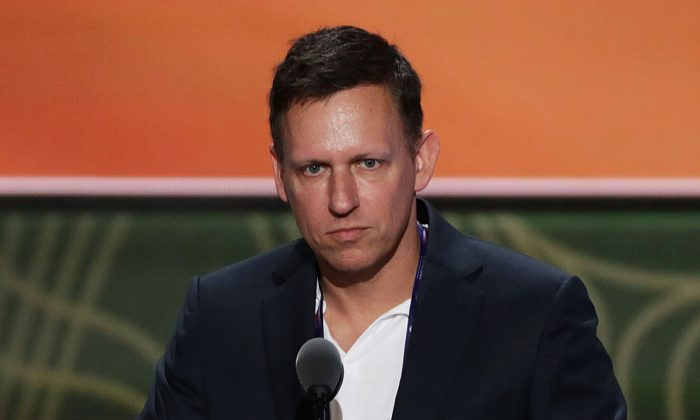 Peter Thiel, co-founder of PayPal, stands on stage prior to the start of the second day of the Republican National Convention at the Quicken Loans Arena in Cleveland, Ohio, on July 19, 2016. (Alex Wong/Getty Images)