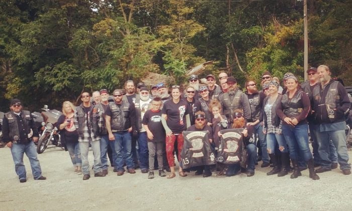 A number of bikers showed up at Bryanne's lemonade stand in Chili, Indiana. (Courtesy of Daryn Sturch)
