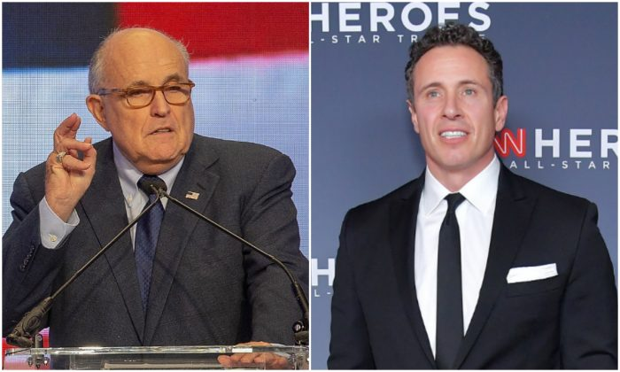 L: Former Mayor of New York City Rudy Giuliani speaks at the Conference on Iran in Washington, on May 5, 2018. (Tasos Katopodis/Getty Images) R: Chris Cuomo attends the 12th Annual CNN Heroes: An All-Star Tribute at American Museum of Natural History in New York City on Dec. 9, 2018. (Michael Loccisano/Getty Images for CNN )