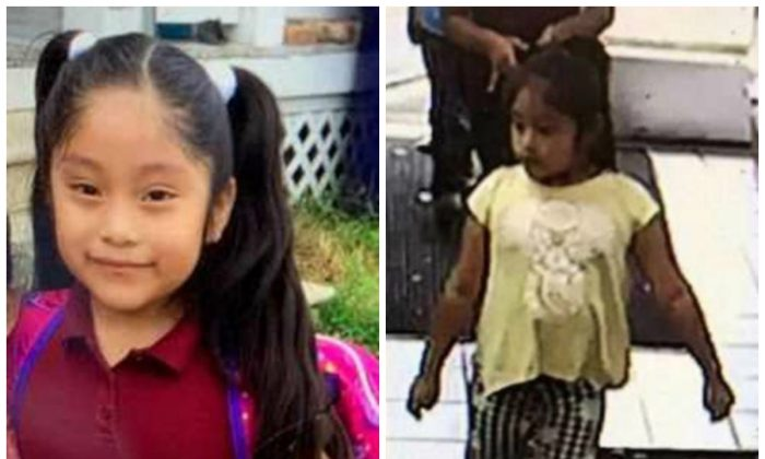 Dulce Alavez, 5, in a file photograph on left and in a convenience store getting ice cream on Sept. 16, 2019, shortly before she was taken from a playground in Bridgeton, New Jersey. (FBI)