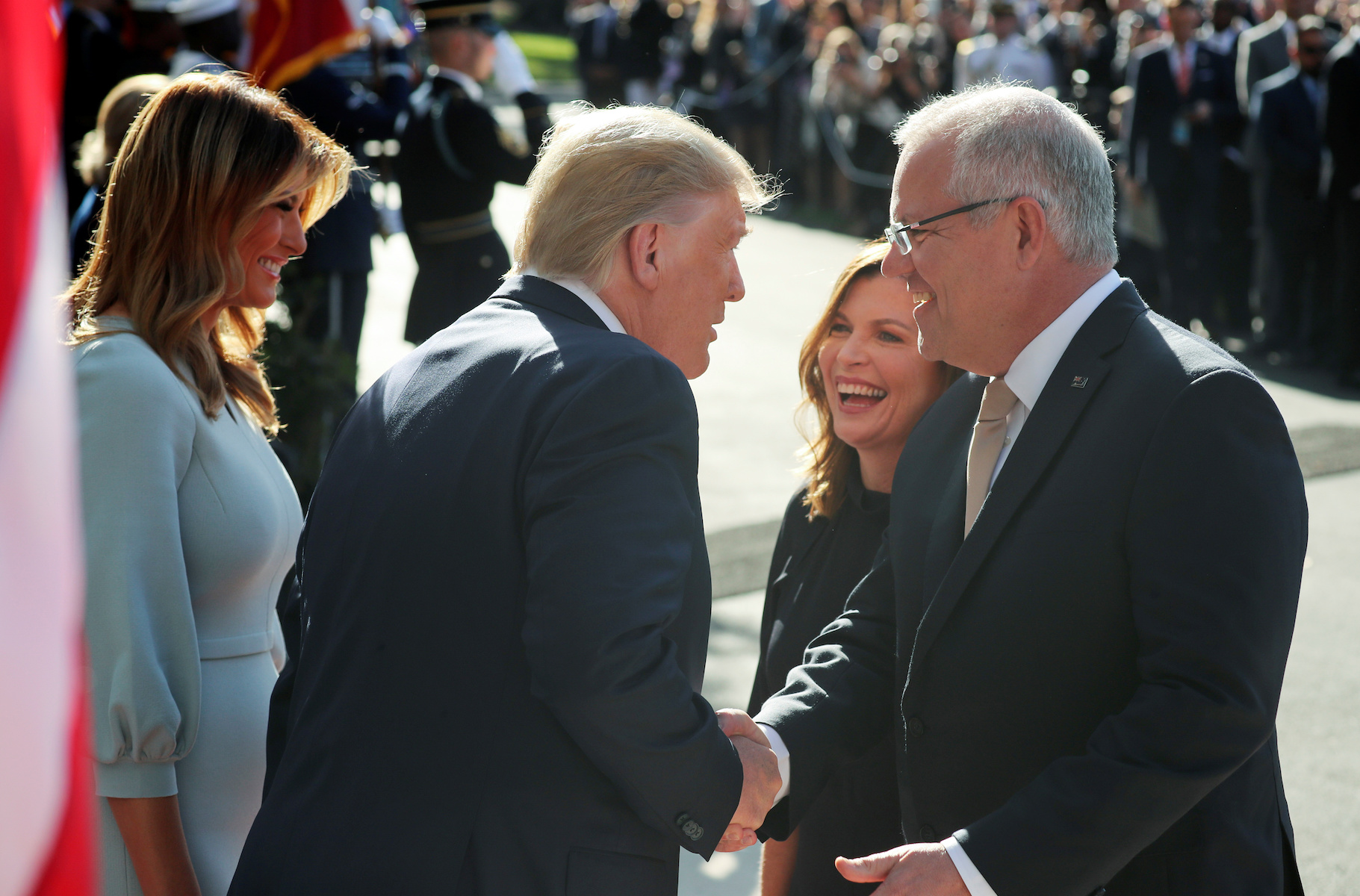 U.S. President Trump welcomes Australia's Prime Minister Morrison at White House arrival ceremony in Washington