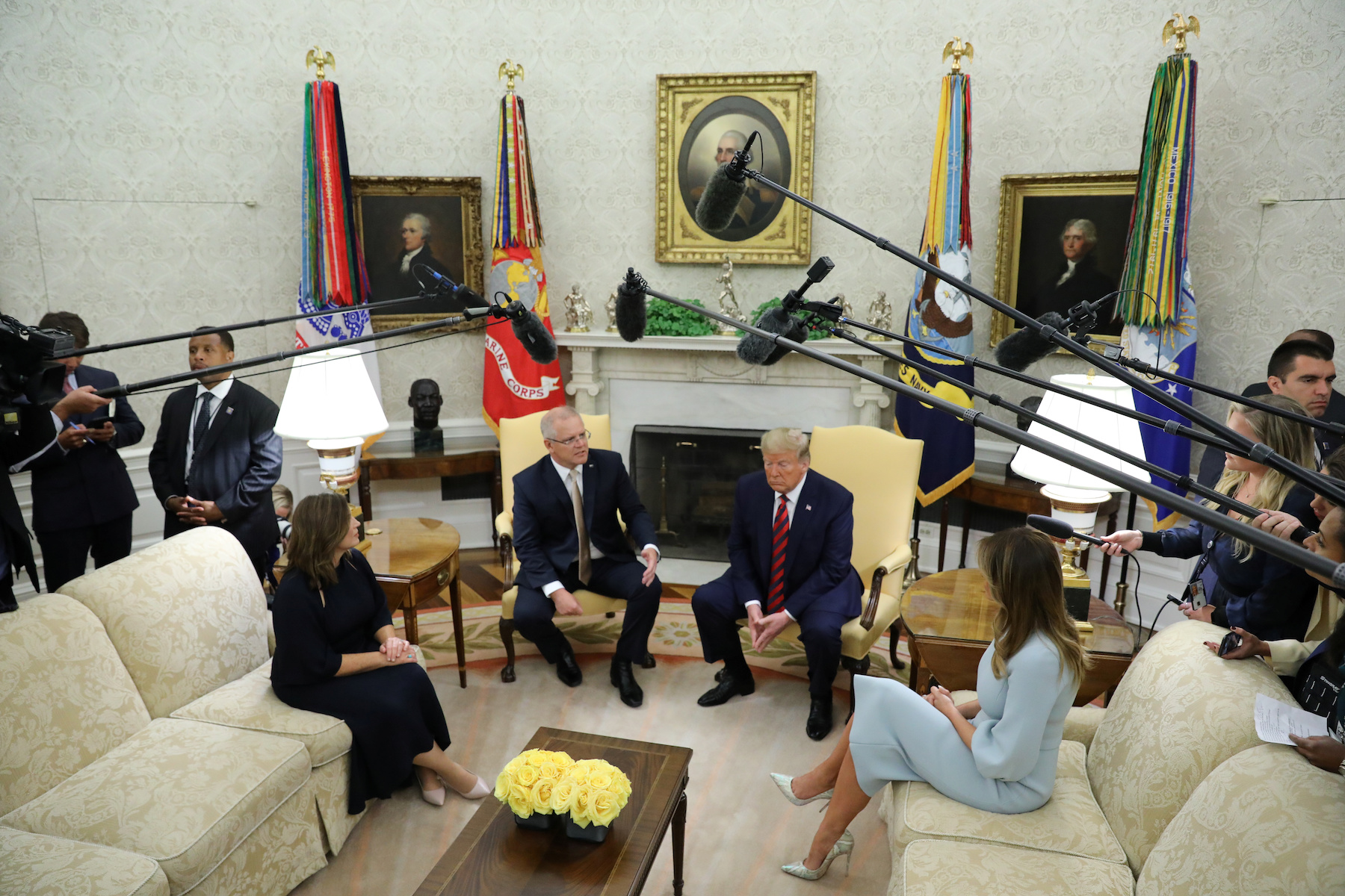 U.S. President Trump speaks to reporters while meeting with Australia's Prime Minister Morrison at White House in Washington