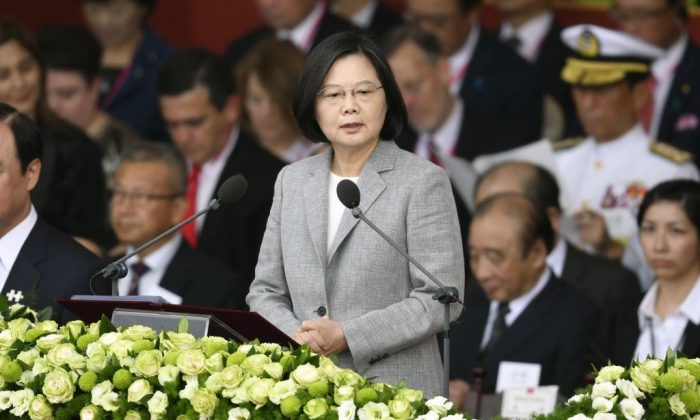 Taiwan's President Tsai Ing-wen (C) speaks during National Day celebrations in front of the Presidential Palace in Taipei on Oct. 10, 2018. (Sam Yeh/AFP/Getty Images)
