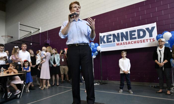 Democratic U.S. Rep. Joseph Kennedy III, D-Mass., announces his candidacy for the Senate in Boston on Saturday, Sept. 21, 2019. (AP Photo/Josh Reynolds)