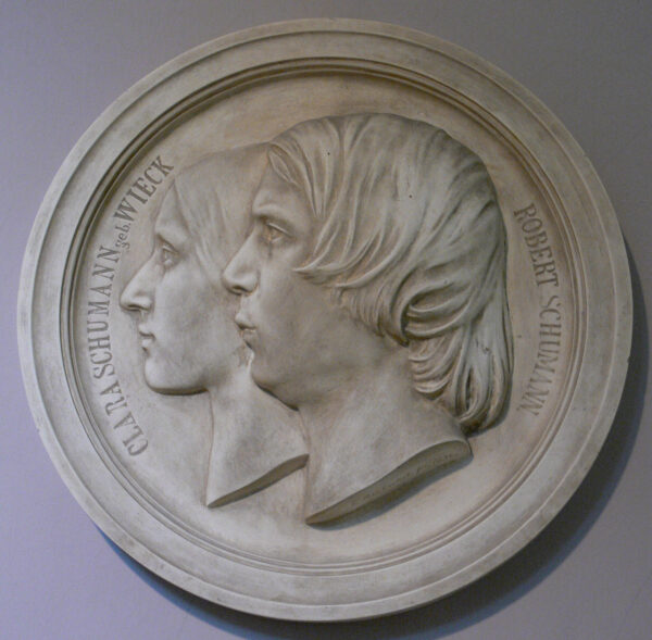 Portrait medallion of man and wife