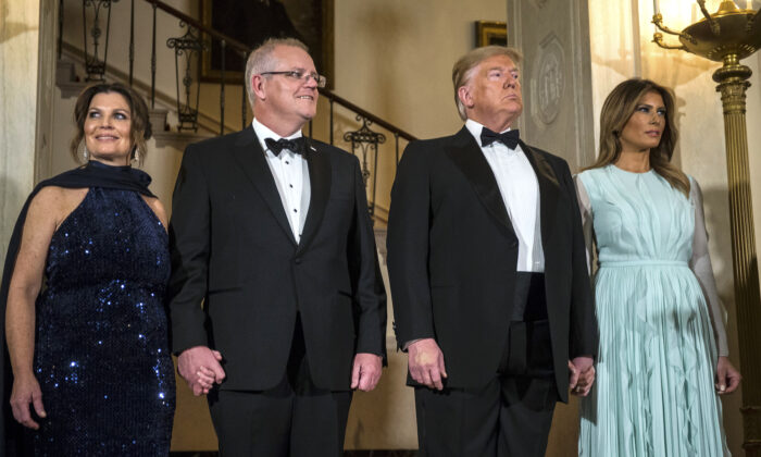 U.S. President Donald Trump and First Lady Melania Trump, Australian Prime Minister Scott Morrison, and Australian First Lady Jennifer Morrison are pictured ahead of a state dinner at the White House in Washington on Sept. 20, 2019. (Zach Gibson/Getty Images)