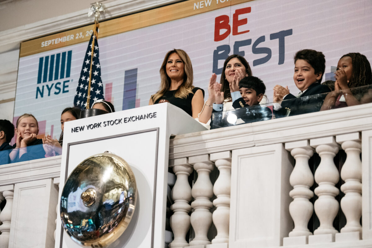 First Lady Melania Trump Rings NY Stock Exchange Bell