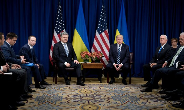 Ukraine's President Petro Poroshenko and President Donald Trump wait for a meeting at the Palace Hotel during the 72nd United Nations General Assembly Sept. 21, 2017 in New York City. (Brendan Smialowski/AFP/Getty Images)