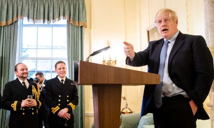 Prime Minister Boris Johnson hosts various members of the armed services at a military reception at 10 Downing Street in London on Sept. 18, 2019. (John Nguyen/WPA Pool/Getty Images)