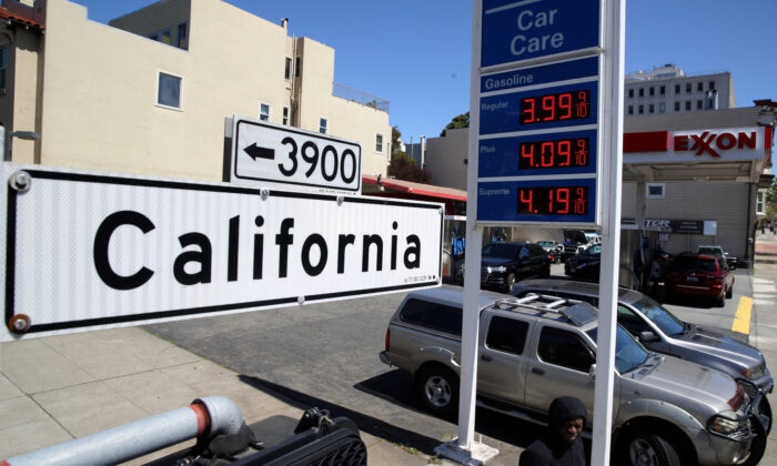Gas prices are displayed at a gas station in San Francisco on April 9, 2019. (Justin Sullivan/Getty Images)