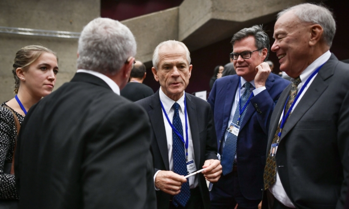 White House trade advisor Peter Navarro (C) looks on during a break during an extraordinary congress of the Universal Postal Union (UPU) with the United States threatening to quit the global body as early as next month,  in Geneva on Sept. 24, 2019. (Fabrice Coffrini/AFP/Getty Images)