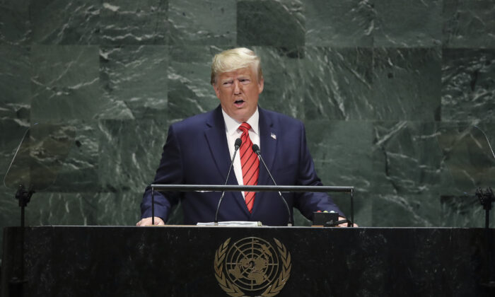 U.S. President Donald Trump addresses the United Nations General Assembly at U.N. headquarters in New York City on Sept. 24, 2019. (Drew Angerer/Getty Images)