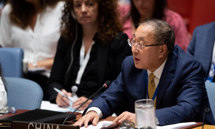 Permanent Representative of China to the United Nations, Zhang Jun, speaks during a United Nations Security Council meeting at the U.N. headquarters in New York on Aug. 20, 2019. (JOHANNES EISELE/AFP/Getty Images)