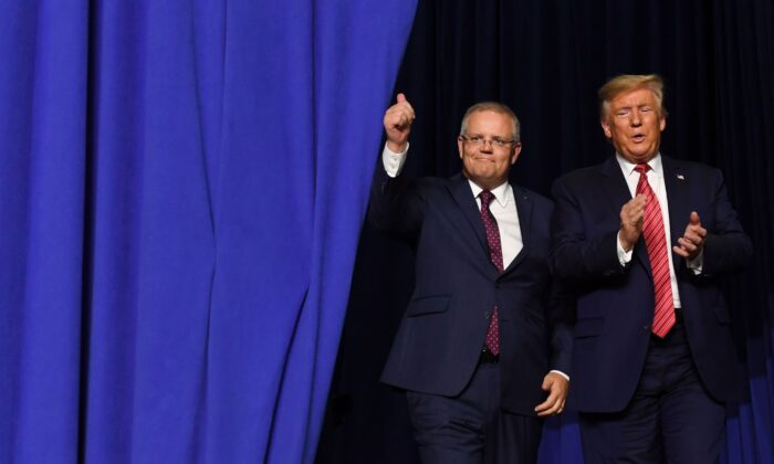 U.S. President Donald Trump and Australian Prime Minister Scott Morrison arrive to speak during a visit to Pratt Industries plant opening in Wapakoneta, Ohio, on Sept. 22, 2019. (Saul Loeb/AFP/Getty Images)